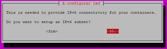 wizard do lxd para configurar a rede